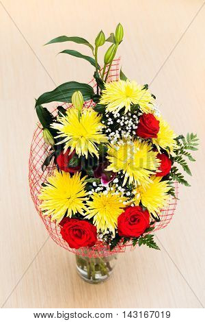 Bouquet Of Roses And Chrysanthemums On Floor
