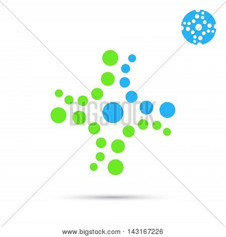 Dotted medical cross icon 2d flat vector sign eps 10