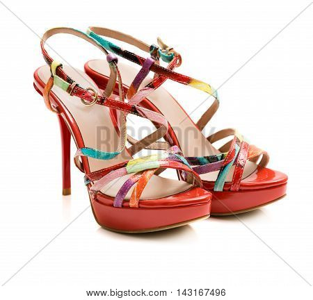 Red Summer Shoes On White Background