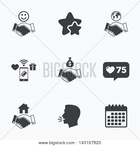 Handshake icons. World, Smile happy face and house building symbol. Dollar cash money bag. Amicable agreement. Flat talking head, calendar icons. Stars, like counter icons. Vector