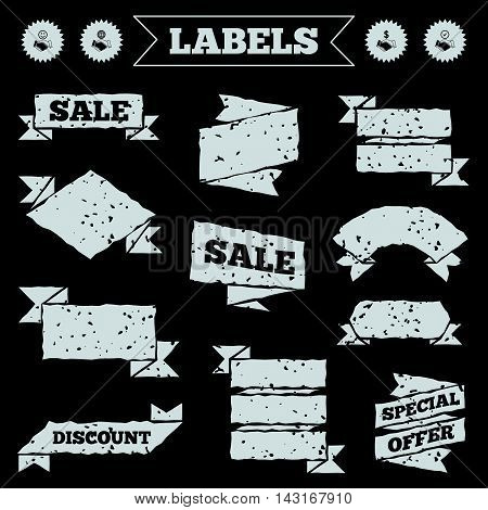Stickers, tags and banners with grunge. Handshake icons. World, Smile happy face and house building symbol. Dollar cash money. Amicable agreement. Sale or discount labels. Vector