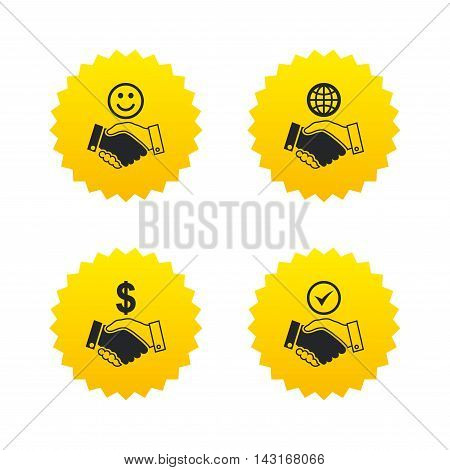 Handshake icons. World, Smile happy face and house building symbol. Dollar cash money. Amicable agreement. Yellow stars labels with flat icons. Vector