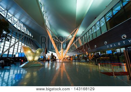 Gdansk Poland May 09 2016: Interior of modern building of Lech Valesa airport in Gdansk at sunset time