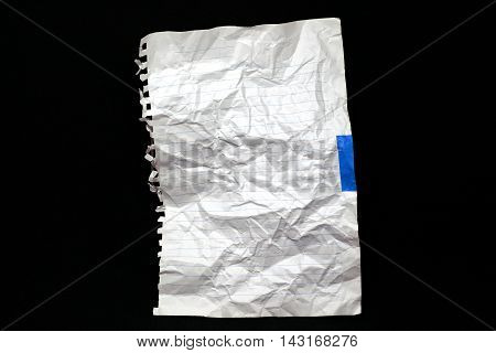 white disastrously paper on black isolate background