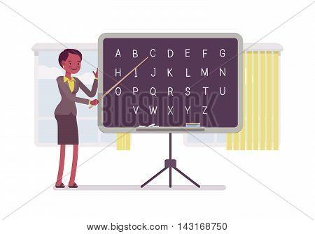 Female teacher is teaching alphabet on the blackboard against windows. Cartoon vector flat-style concept illustration