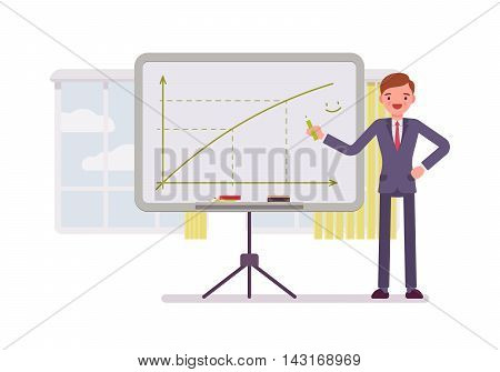 Man in a formal wear drew a positive graph on the whiteboard. Cartoon vector flat-style concept illustration