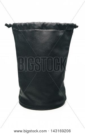 black leather pouch for len camera in isolate background