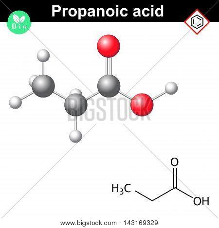 Propanoic acid molecule 2d and 3d illustration of molecular structure vector on white background eps 8