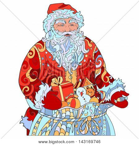 Hand drawing Santa Claus, coloring with ornament. Grandfather with a bag of gifts hand out candy on Christmas holiday.