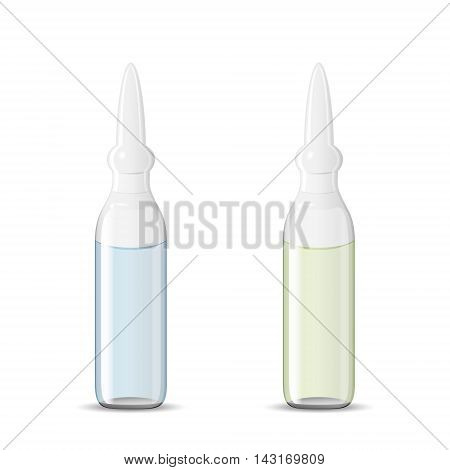 Two sealed medical ampoules with drug solution 3d illustration realistic vector object eps 10