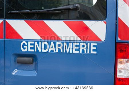 Gendarmerie sign french police isolated on a car