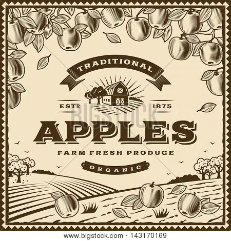 Vintage brown apples label