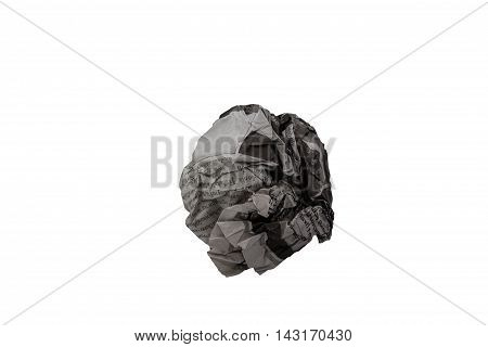 Close-up object, of crumpled Newspaper ball isolated on white background