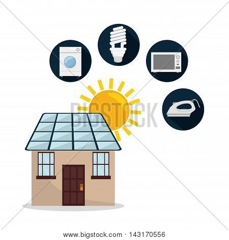 solar panel smart house home technology icon. Flat and Colorful illustration. Vector illustration