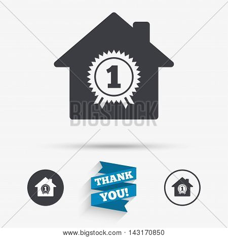 Best home. First place award icon. Prize for winner symbol. Flat icons. Buttons with icons. Thank you ribbon. Vector