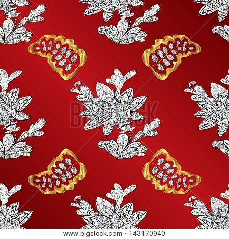 vintage pattern on red background with golden elements.