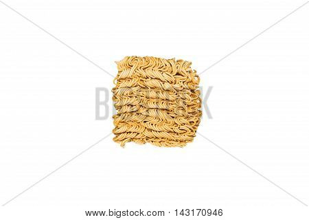 Texture of Instant noodles isolated on white background.
