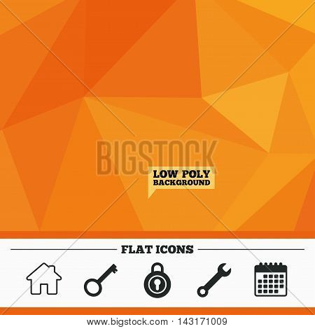 Triangular low poly orange background. Home key icon. Wrench service tool symbol. Locker sign. Main page web navigation. Calendar flat icon. Vector