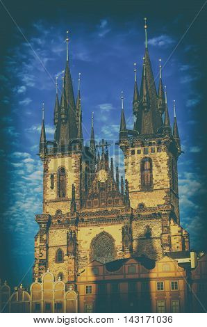 Church of Our Lady before Tyn in Prague city, travel european vintage hipster background