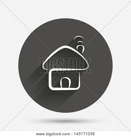 Home sign icon. Main page button. Navigation symbol. Circle flat button with shadow. Vector