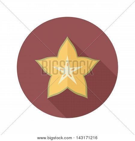 Starfruit Carambola Carom flat icon. Tropical fruit. Vector illustration eps 10