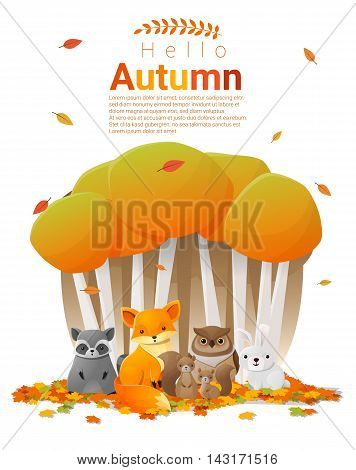 Hello autumn background with woodland animals , vector , illustration