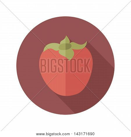 Persimmon flat icon. Tropical fruit. Vector illustration eps 10