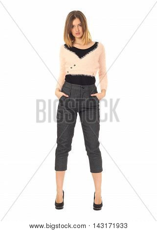 Pretty Young Girl Wearing Gray Trousers Isolated