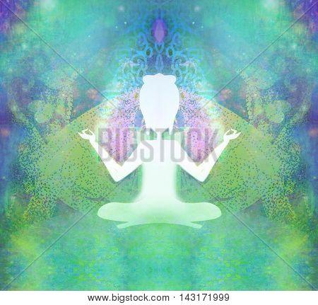 Yoga  woman silhouette and Spirituality , raster