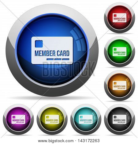 Set of round glossy member card buttons. Arranged layer structure.