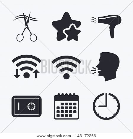 Hotel services icons. Wi-fi, Hairdryer and deposit lock in room signs. Wireless Network. Hairdresser or barbershop symbol. Wifi internet, favorite stars, calendar and clock. Talking head. Vector