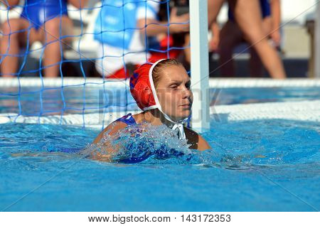Budapest, Hungary - Jul 16, 2014. Russia's KARNAUKH Anna (RUS, 13) goalkeeper. The Waterpolo European Championship was held in Alfred Hajos Swimming Centre in 2014.