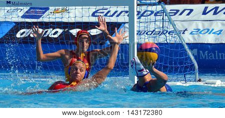 Budapest, Hungary - Jul 16, 2014. Russia's RYZHKOVA Daria (RUS, 12) throwing the ball. The Waterpolo European Championship was held in Alfred Hajos Swimming Centre in 2014.