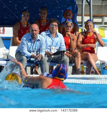 Budapest, Hungary - Jul 16, 2014. Rest of the spanish team. The Waterpolo European Championship was held in Alfred Hajos Swimming Centre in 2014.