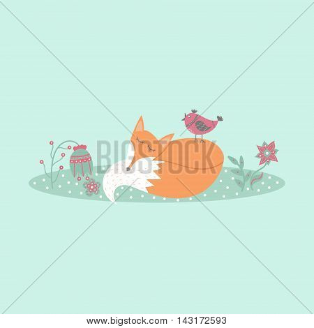 Cute fox lies on lawn in forest with bird and flowers in cartoon style. Animal symbol. Perfect for design cards invitations birthdays and weddings