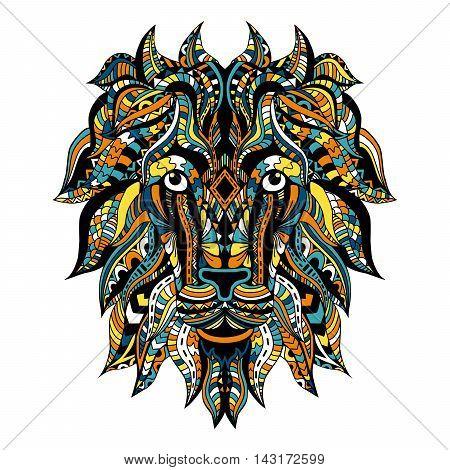 Ornamental Tattoo Lion Head. Zentangle stylized Lion face. African / totem / tattoo design.