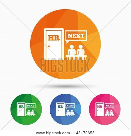 Human resources sign icon. Queue at the HR door symbol. Workforce of business organization. Triangular low poly button with flat icon. Vector