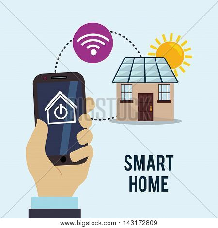smartphone solar panel smart house home technology app icon set. Flat and Colorful illustration. Vector illustration