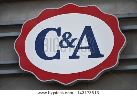 CIRCA AUGUST 2016 - GDANSK:  logo of C and A. C and A is international Dutch chain of fashion retail clothing stores, with its European head offices in Vilvoorde, Belgium and Dusseldorf, Germany. It was founded in 1841.