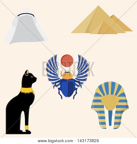 Egypt vector icon set- pyramids giza tutankhamen mask egypt cat and egyptian scarab beetle.