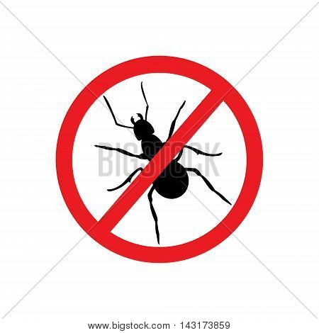 Vector illustration no ant sign symbol. Ant insect household pests. Insect prohibition sign ant prohibition sign. Ant silhouette