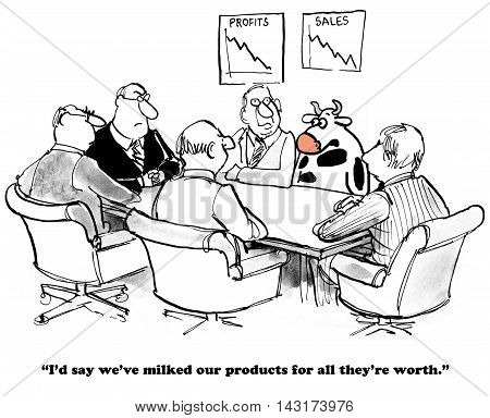 Business cartoon that shows a cow in a meeting saying the company has milked the products.