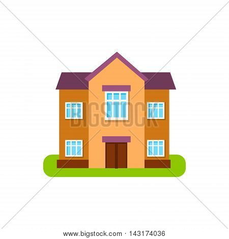 Large Two Storey Suburban House Exterior Design Primitive Geometric Flat Vector Drawing Isolated On White Background