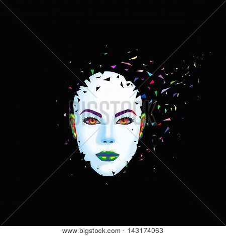 Abstract woman's face breaks into pieces. Vector illustration. Imagination.