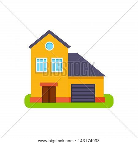 Orange Suburban House Exterior Design With Garage Primitive Geometric Flat Vector Drawing Isolated On White Background