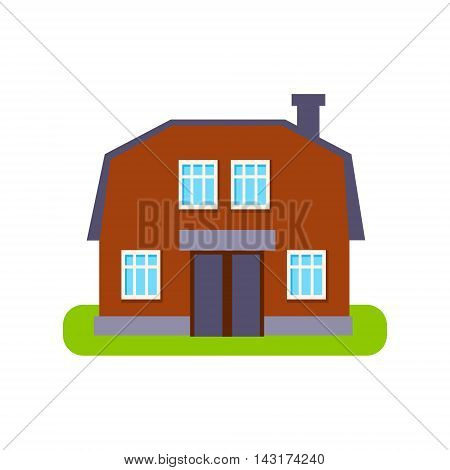 Brown Barn Suburban House Exterior Design Primitive Geometric Flat Vector Drawing Isolated On White Background