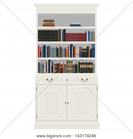 Vector illustration white vintage cabinet with book -bibliography encyclopedia and handbooks. Retro interior furniture. Bookshelf