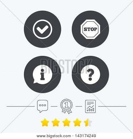 Information icons. Stop prohibition and question FAQ mark signs. Approved check mark symbol. Chat, award medal and report linear icons. Star vote ranking. Vector