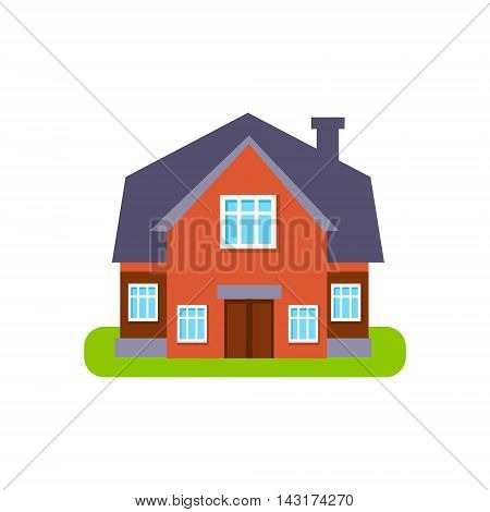 Terracota Family Cottage Suburban House Exterior Design Primitive Geometric Flat Vector Drawing Isolated On White Background