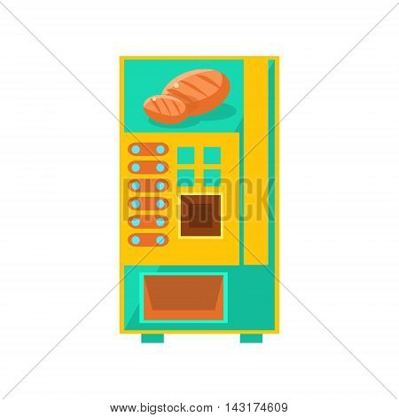 Bread Vending Machine Design In Primitive Bright Cartoon Flat Vector Style Isolated On White Background